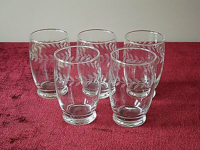 """5 Anchor Hocking 4 3/4"""" Glass Footed Tumblers Laurel (10 Avail) Gray Cut Clear"""