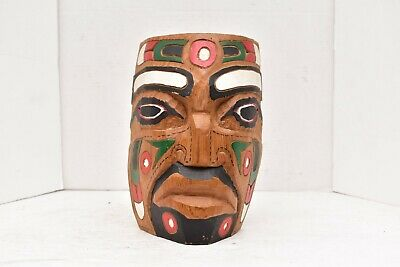 Vintage Northwest Coast carved & painted native carved wood mask spirit