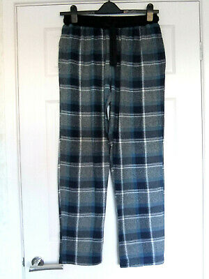Mens NEXT  Blue Grey & White Plaid Pyjama Bottoms ~ Size S / Long Leg