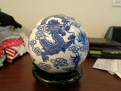 """23"""" Blue And White Ceramic Sphere Chinese Dragon Motif With Wooden Stand"""