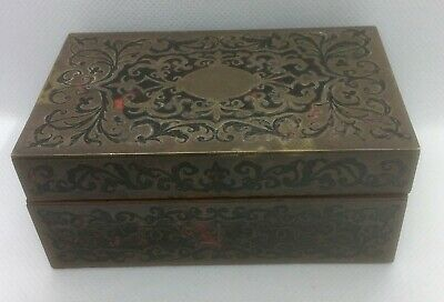 Small Rosewood & Brass Boulle Hinged Box
