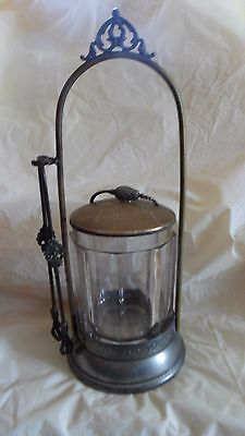 Antique Victorian Silver Plate Pickle Jar with Lid and Talon Tongs