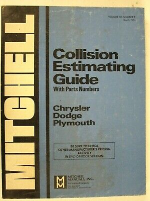 Mitchell Collision Guide Chrysler Dodge Plymouth Vol. 18 No. 3