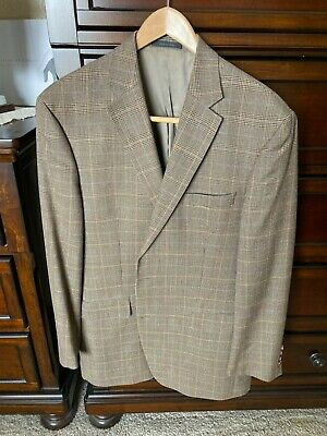 RALPH LAUREN Mens Herringbone Birdseye Silk Wool Blazer Sportcoat Tan/Brown 44 L
