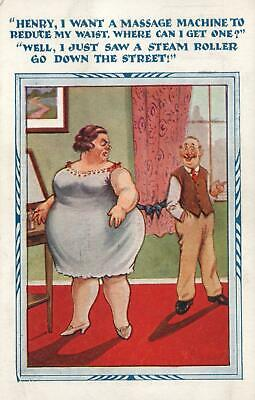1933 COMIC THIN HUSBAND SUGGESTS STEAM ROLLER for FAT WIFE  POSTCARD - USED
