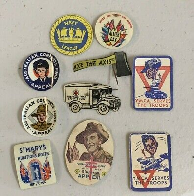 10 SOUTH Australia WW2 APPEAL DAY BADGE PINS