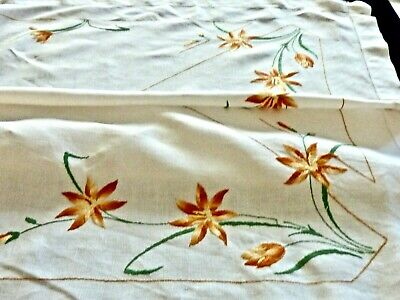Beautiful Vintage White Linen Hand Embroidered Tablecloth  C 1950'S