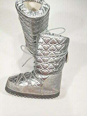 Love/Heart Guess Lace Snow Winter Silver Lined Boots Womens Girls Size 4
