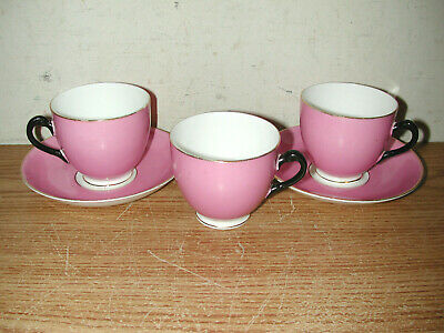 Vintage Tuscan China England Painted Pink With Gold Trim Tea Cup And Saucer Set
