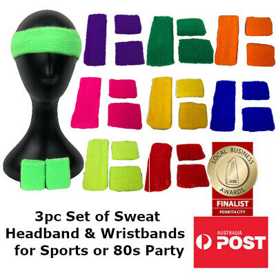 3 Pcs Sweatband Set Knitted Headband & Wristbands for Winter Sport or 80s Disco