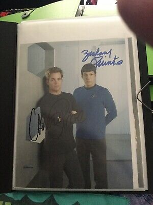 Star Trek hand signed Autograph From Chris pine And Zachary quinto