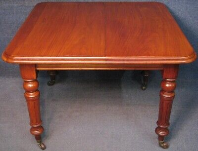 Victorian Mahogany Single Leaf Wind Out Extending Dining Table