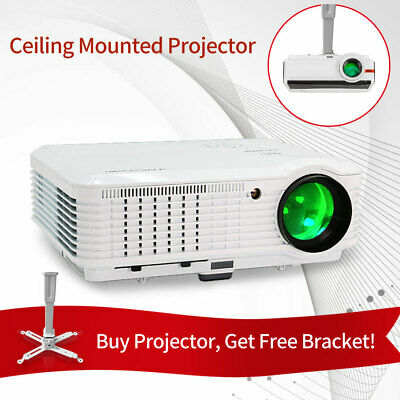 Android Wifi LED Projector 7500:1 1080p Home Theater HDMI USB PS4 Bundle Bracket