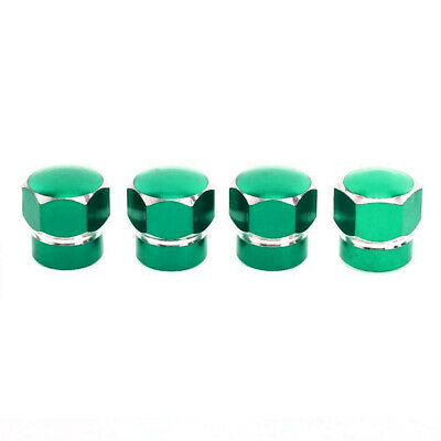 4 Pcs Green Tyre Tire Alloy Wheel Dust Valve Caps Universal Fits Car Bike Cycle