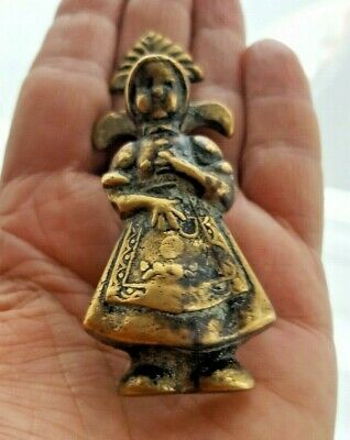 "Vintage Antique Small Brass ""Farm Girl"" Door Knocker"
