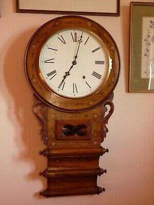Stunning Anglo American , triple scroll , drop dial wall clock with Superb case