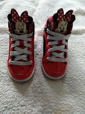 Children's Disney Minnie Mouse High Top Trainers Size UK 7 pink red