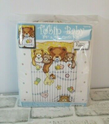 "Tobin Baby Quilt TEDDY BEARS Stamped Cross Stitch Kit NEW 43"" X 34""  T21719"