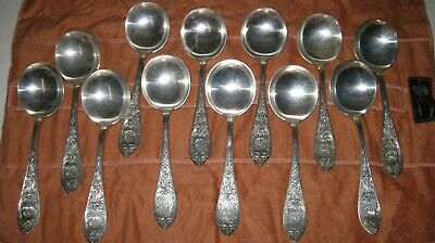 (12) Wentworth 1822C Chased by Durgin Sterling Silver Round Bowl Soup Spoons
