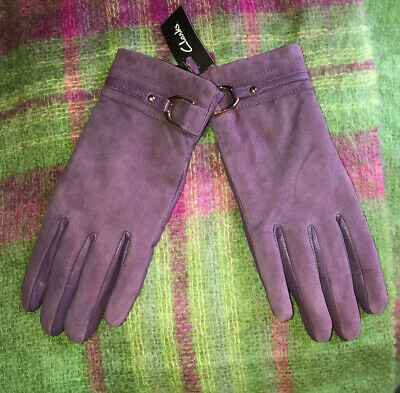 NWT Woman's Clarks Plum Suede Leather Fleece Lined Driving Gloves Small $45