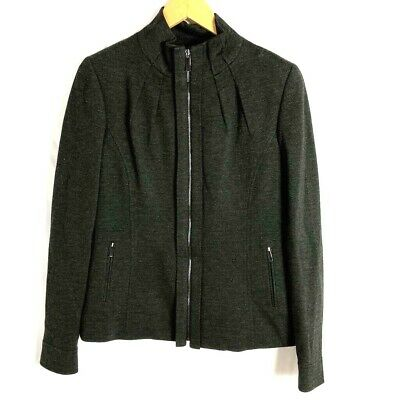 Elie Tahari Womens Zip Up Jacket Black Heathered Mock Neck Stretch Pleated M New