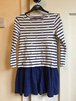 Joules Dress Girls 5-6 Blue White Stripe Silver Spots