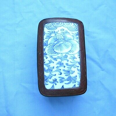 """Antique Chinese Blue And White Porcelain Lacquer Box 5 x 3.5"""""""