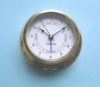 MEGA-QUARTZ SHIPS Time and Tide Clock polished brass case