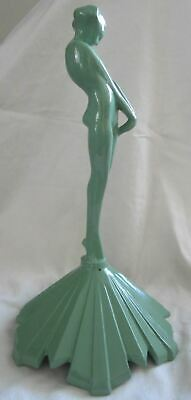 "Frankart coy nymph on base art deco green aluminum metal  11"" tall USA"