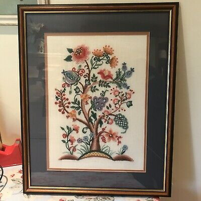 Floral Needlepoint Embroidered Framed Picture  Shabby Chic