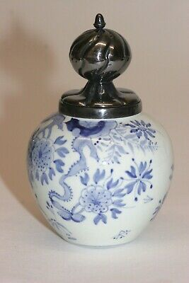 Ned Llloyd Cruise Lines Antique style salt Delft pot with silvered top