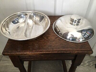 Vintage Silver Plated Two Compartment Serving Dish With Cover