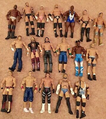 USED BUNDLE 18 X WWE Mattel action figure BASIC toy Wrestling loose Rattle Role