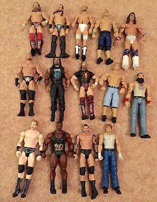 USED BUNDLE 14 X WWE Mattel action figure BASIC toy Play Wrestling loose Rattle