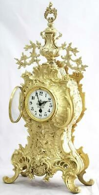 Antique Mantle Clock French Lovely 1880s Embossed Rococo Bronze Single Train