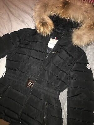 Designer Girls MONCLER black Coat Jacket Fur Hood and belt size 10