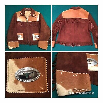 Vintage Leather Fringe Coat Boy's Medium Brown 1950/60's Cowboy Indian Jacket