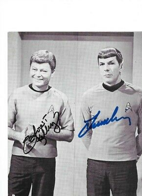Star Trek Autograph Hand Signed Deforest Kelley And Leonard Nimoy