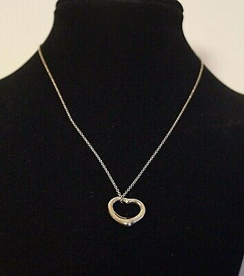 Authentic Tiffany & Co. ELSA PERETTI Open Heart Necklace 925 Sterling Silver