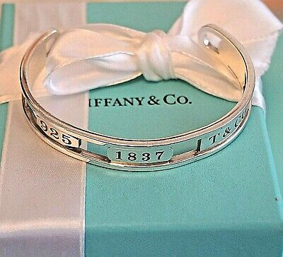 Tiffany & Co Sterling Silver 1837 Cutout Stencil Elements Cuff Bangle Bracelet
