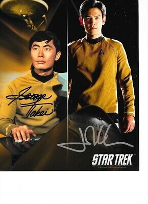 Star Trek Autograph Hand Signed George Takei And John Cho