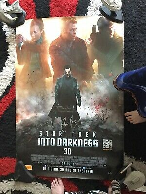 Star Trek Autograph Hand Signed InTo Darkness Poster 7 Signatures incl JJ Abrams
