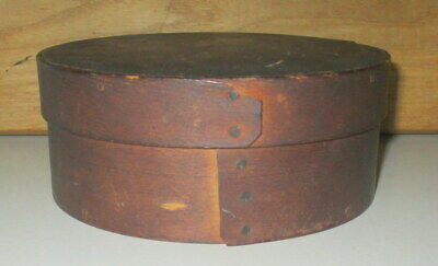 "Antique Primitive Round Bentwood Pantry Box 5 5/8"" Wide By 2 1/4"" Tall Wood Pegs"