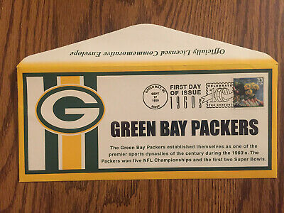 Green Bay Packers 1960s Stamp First Day of Issue w/Officially Licensed Envelope