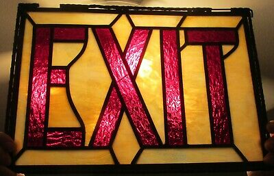 Early Stained Glass Theater EXIT Sign