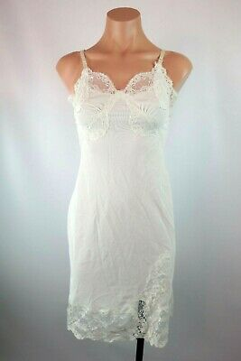 VTG 1940-50s Rogers Full Slip Lingerie Night Gown French Alencon Lace sz 16