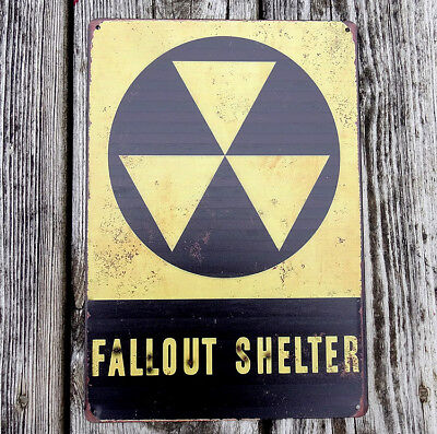 """Nuclear Fallout Shelter Tin Metal Steel Sign Reproduction Vintage Rust FX 12x18/"""""""