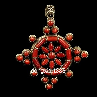 Tibetan jewelry Buddhism pure silver inlay coral wheel amulet Necklaces Pendants