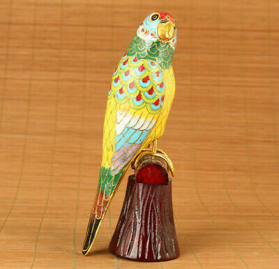 Chinese old cloisonne hand painting parrot statue netsuke pendant home deco