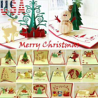 US STOCK 3D Pop Up Greeting Card Handmade Happy Birthday Merry Christmas Card